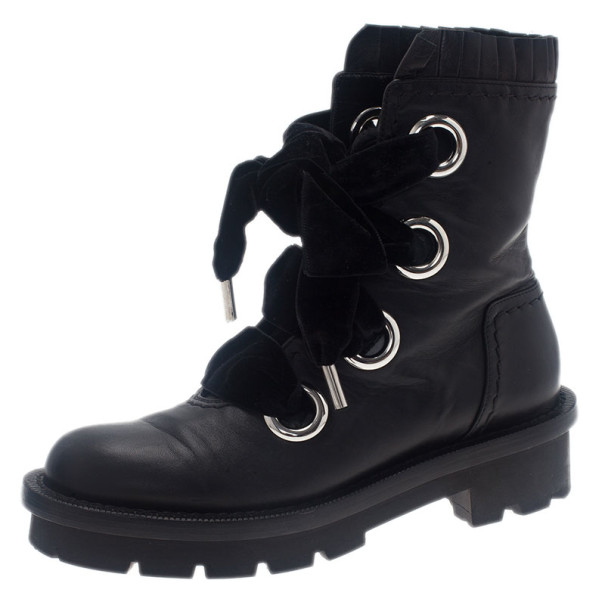 Alexander McQueen Black Leather Combat Boots Size 38.5
