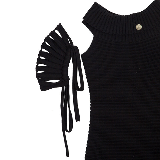 Chanel Black Textured Chevron Wool Dress M