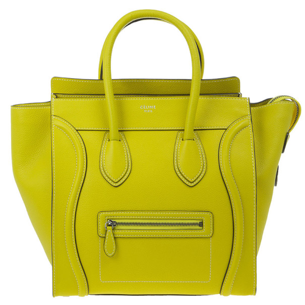 Celine Yellow Leather Mini Luggage Tote