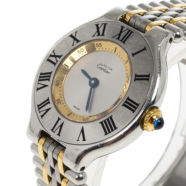 Cartier White Stainless Steel Must de Cartier 21 Women's Wristwatch 28MM