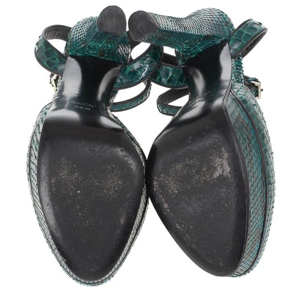 Gucci Green Python Huston Ankle Strap Platform Sandals Size 35.5