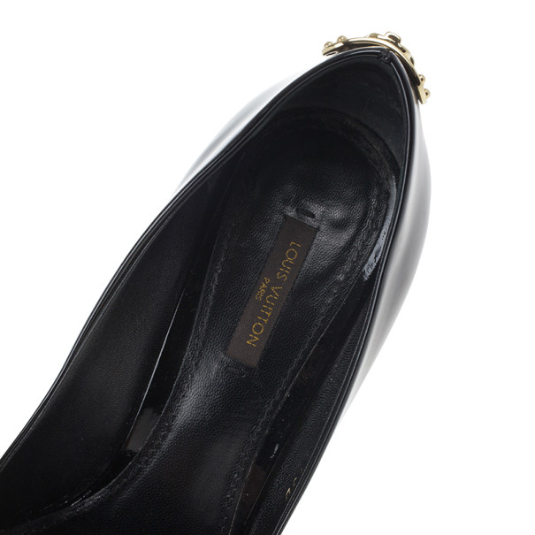 Louis Vuitton Black Patent Oh Really! Wedge Pumps Size 38.5