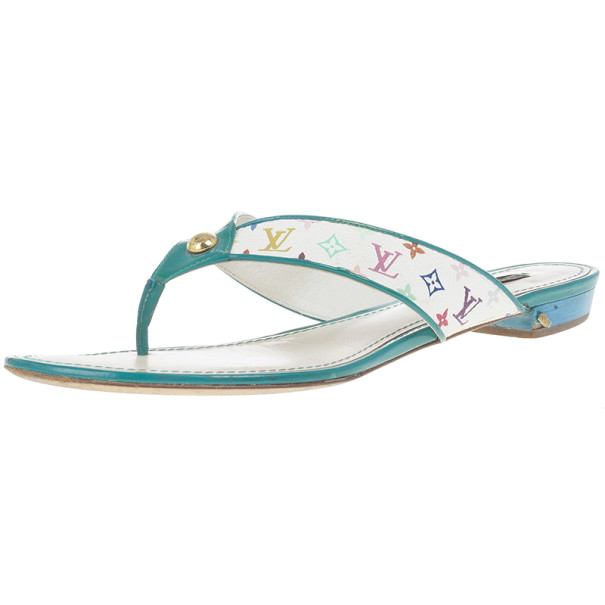 Louis Vuitton White Monogram Multicolor Thong Sandals Size 38.5
