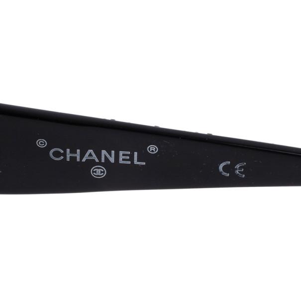 Chanel Black Crystal Rectangle Sunglasses