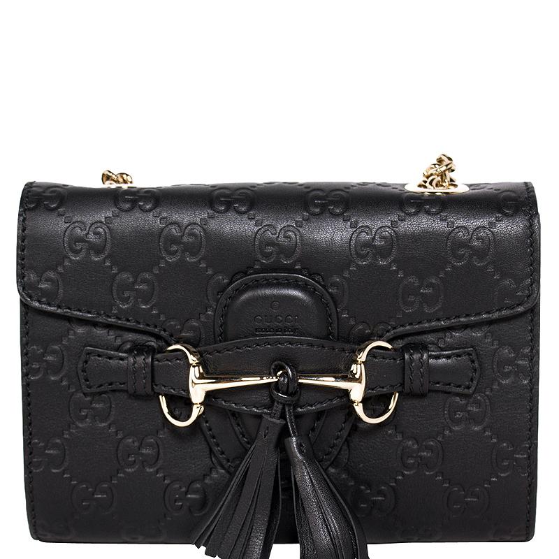 cefbc2551e9f Gucci Black Guccissima Leather Mini Emily Chain Shoulder Bag - Buy & Sell -  LC