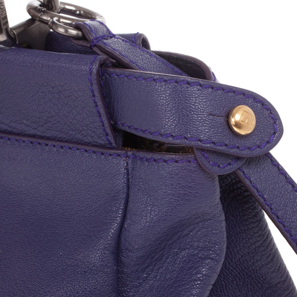 Fendi Purple Leather Mini Peekaboo