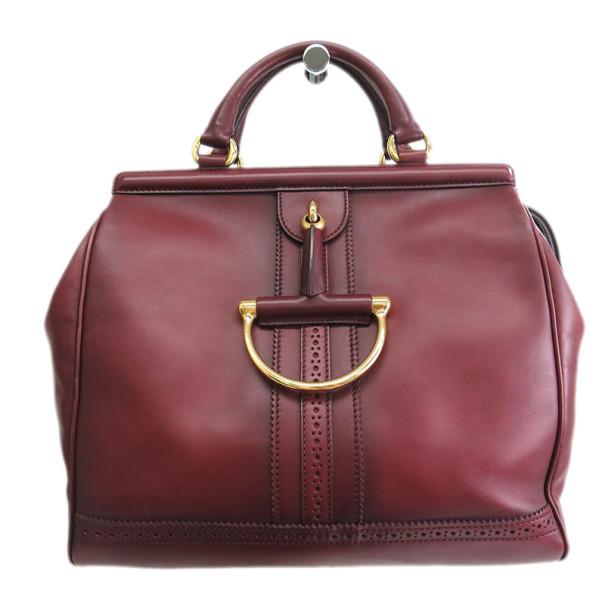 Gucci Bordeaux Leather D-Ring Boston Bag