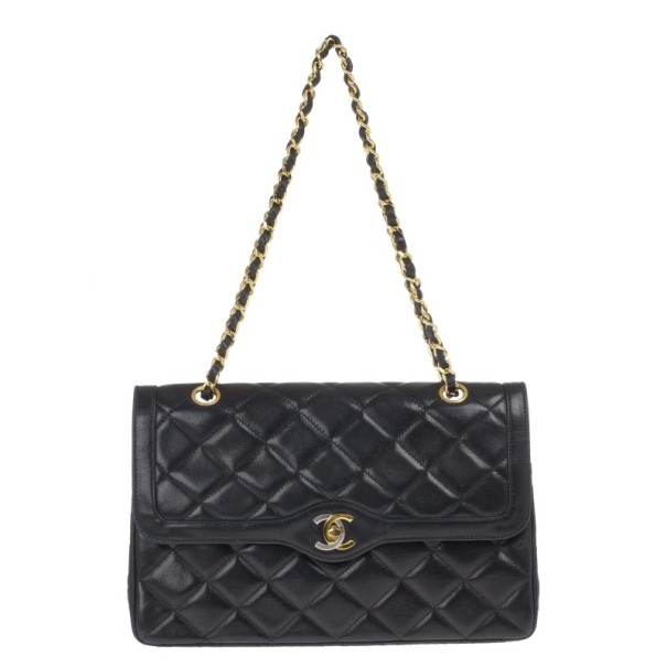 Chanel Black Lambskin Vintage Medium Flap Bag