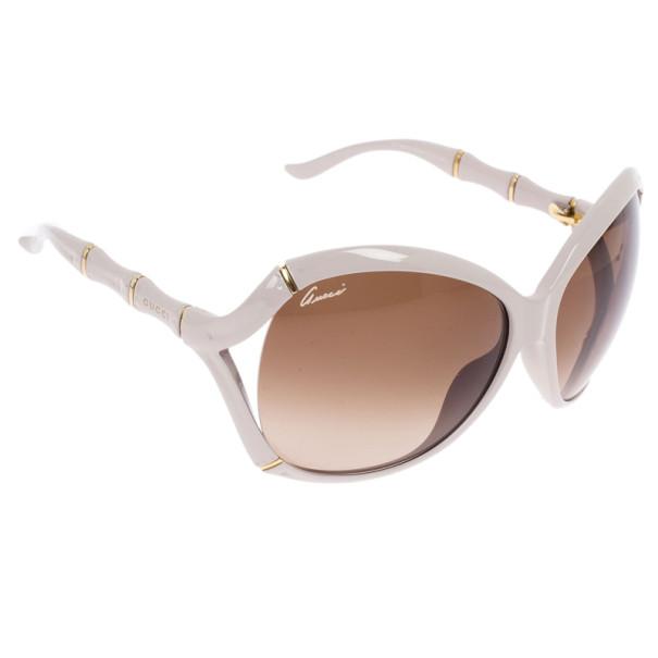 Gucci Cream Bamboo Effect Oversize Square Sunglasses