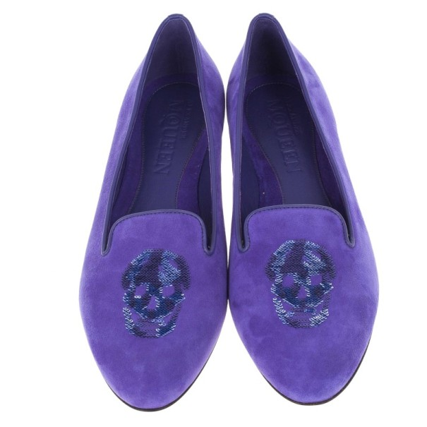 Alexander McQueen Purple Velvet Sequin Skull Smoking Slippers Size 39.5