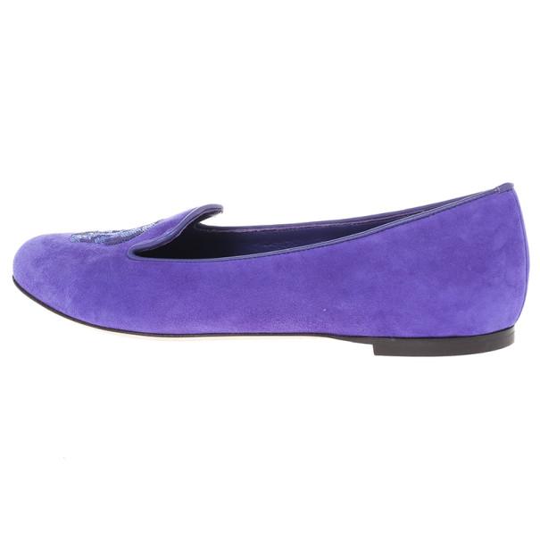 Alexander McQueen Purple Velvet Sequin Skull Smoking Slippers Size 39.5