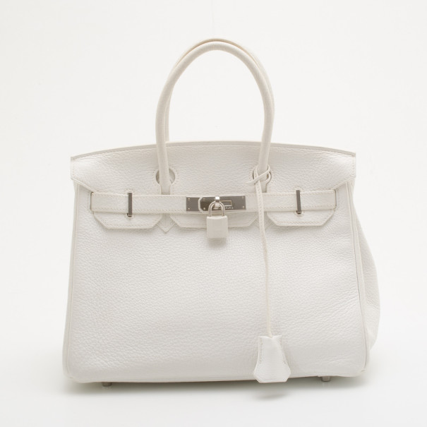 Buy Hermes White Clemence Birkin 30 35370 at best price   TLC d5775a8929