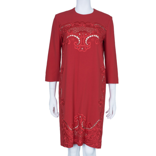 Preen By Thornton Bregazzi Ember Red Cutout Shift Dress M