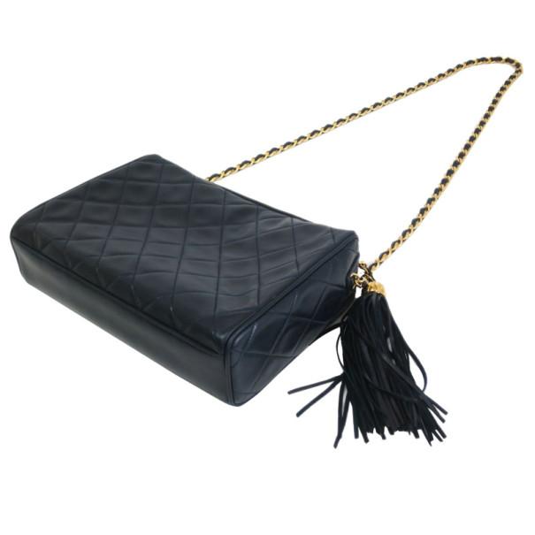 Chanel Navy Fringe Lambskin Shoulder Bag