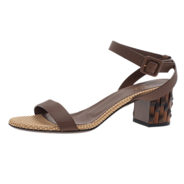 Gucci Brown Leather Dahlia Ankle Strap Sandals Size 37.5