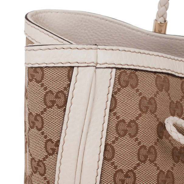 Gucci GG Canvas and White Leather Bella Tote