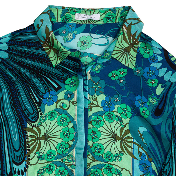 Versace Multicolor Printed Silk Shirt L