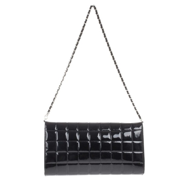Chanel Black Patent Leather East West Flap Clutch Bag