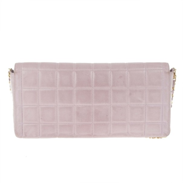 Chanel Pink Lambskin Chocolate Bar East-West Baguette Clutch