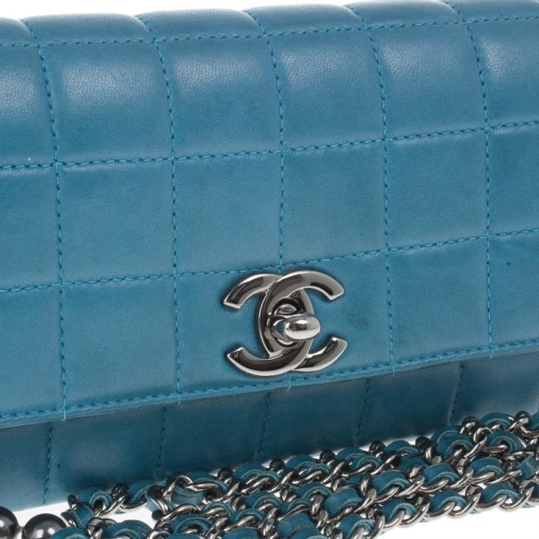 Chanel Blue Leather Quilted Chocolate Bar East-West Shoulder Bag