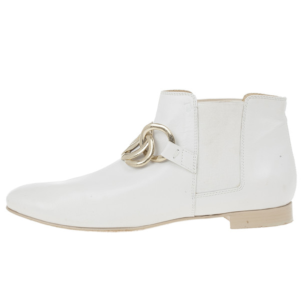 Tod's White Leather Chelsea Chain Leather Ankle Boots Size 40