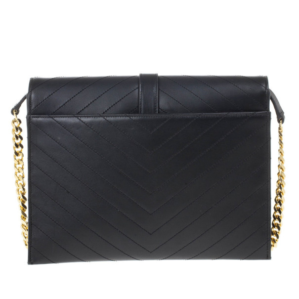 Saint Laurent Black Leather Classic Monogram Envelope Chain Bag