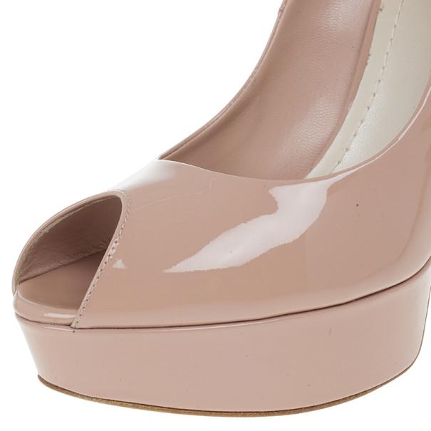 Dior Rose Pink Patent Leather 'Miss Dior' Peep Toe Platform Pumps Size 39