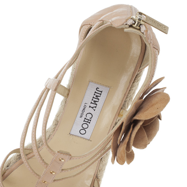 Jimmy Choo Beige Leather Pulse Cage Espadrille Wedges size 40