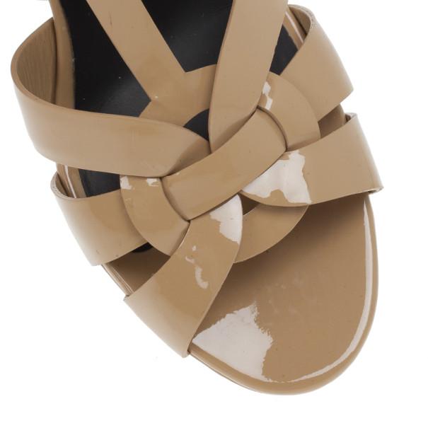 Saint Laurent Paris Nude Patent Tribute Platform Sandals Size 40
