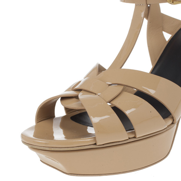 Saint Laurent Paris Nude Patent Tribute Platform Sandals Size 40