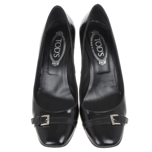 Tods Black Leather Buckle Pumps Size 40