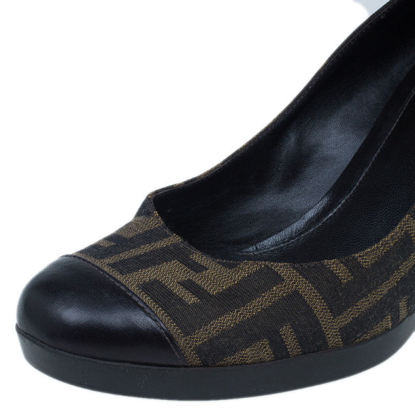 Fendi Zucca Canvas Cap Toe Wedge Pumps Size 40