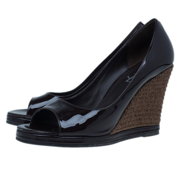 Saint Laurent Paris Brown Dolly Patent Peep Toe Wedges Size 40.5
