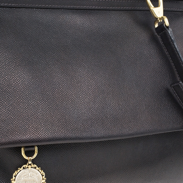 Dolce and Gabbana Black Calfskin Large Sicily Tote