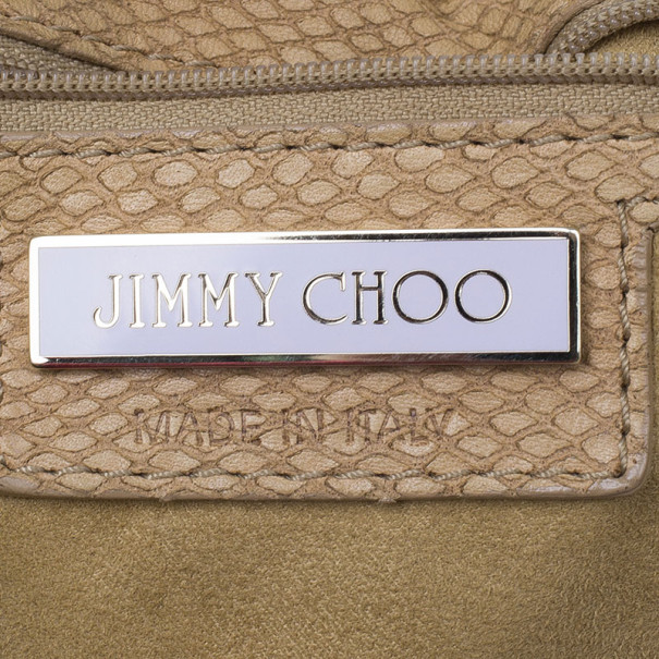 Jimmy Choo Brown Leather Snake-Embossed Rahmyn Hobo