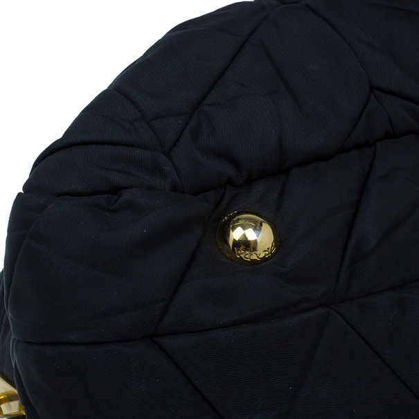 Prada Black Chevron Quilted Nylon Dome Bag