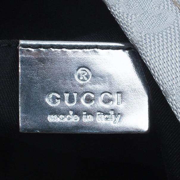 Gucci Silver Monogram Coated Canvas Tote