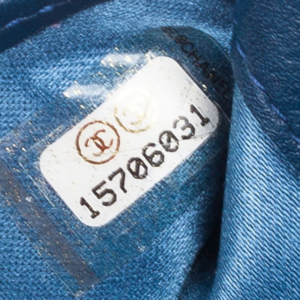 Chanel Blue Lambskin Embossed Camellia Wallet