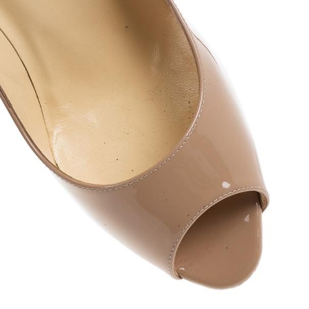 Christian Louboutin Nude Patent You You Peep Toe Pumps Size 39