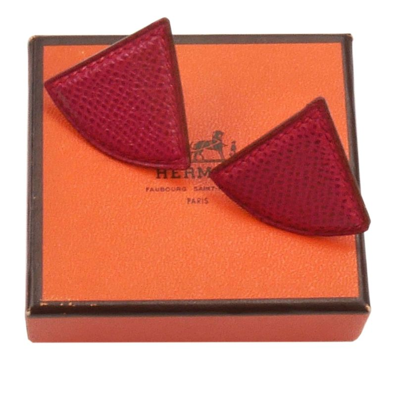 Hermes Red Triangle Leather  Clip Earrings
