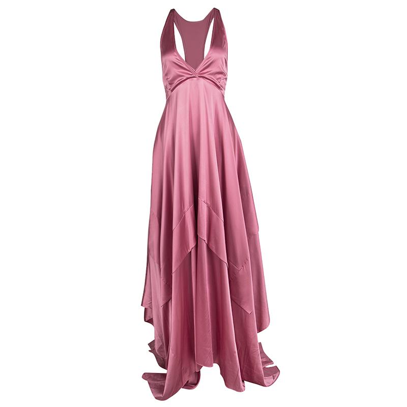 Boss By Hugo Boss Pink Silk Satin Asymmetric Sleeveless Maxi Dress M ...