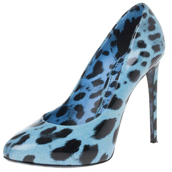 Dolce and Gabbana Blue Leopard Print Patent Pumps Size 38