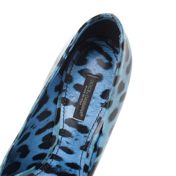 Dolce and Gabbana Blue Leopard Print Patent Pumps Size 38