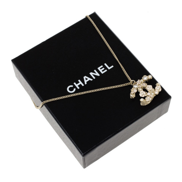 Chanel CC Crystal Signature Floral Pendant Necklace
