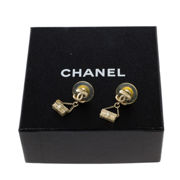Chanel CC Logo Mini Bag Drop Earrings