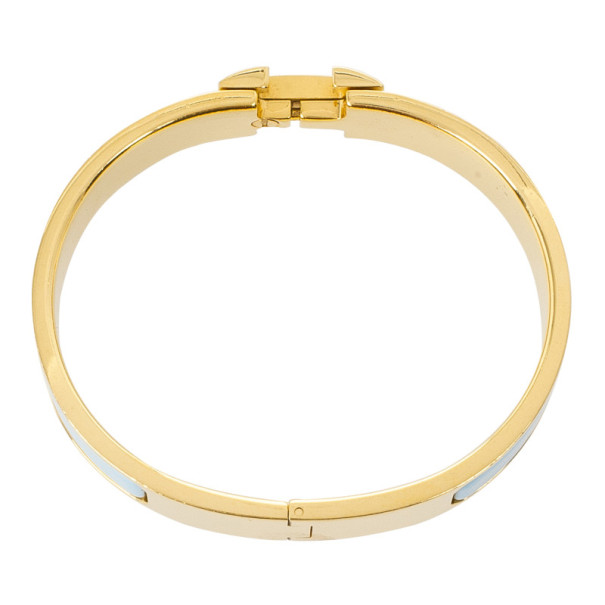 Hemes Clic Clac H Light Blue Enamel Gold Plated Bracelet PM