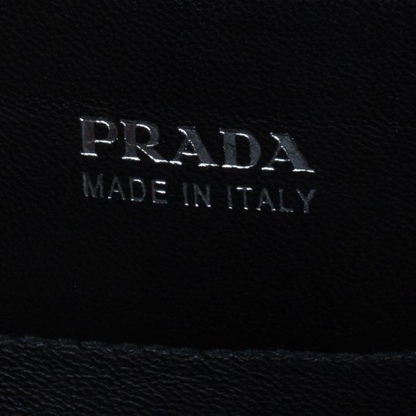 Prada Grey Saffiano Cuir Leather Flap Bag