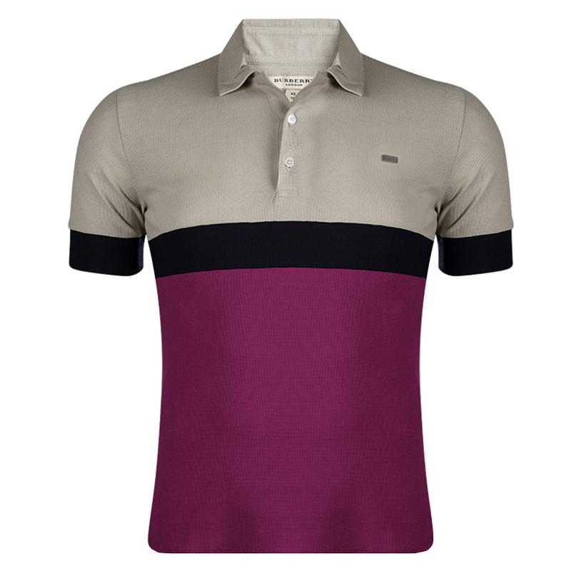 Burberry London Colorblock Honeycomb Knit Polo T-Shirt XS