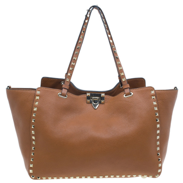 Valentino Brown Leather Medium RockStud Clasp Tote