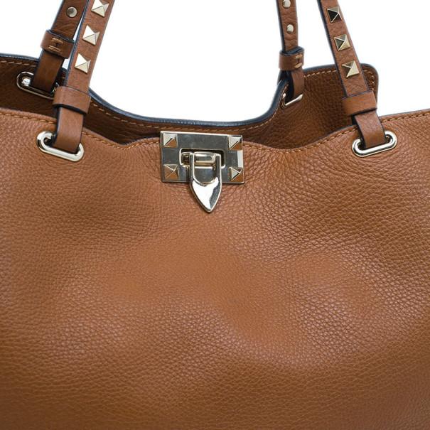 Valentino Brown Leather Medium RockStud Clasp Tote